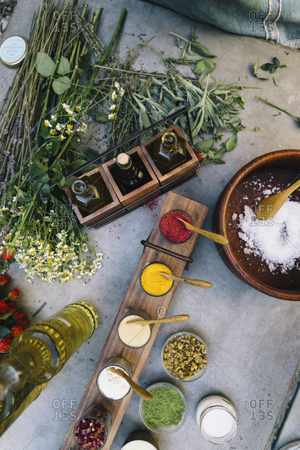 Natural Products set on a table
