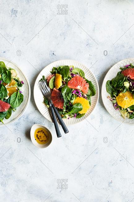 Three servings of salad - Offset