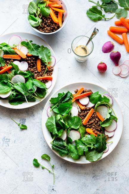 Lentil salad served on plates