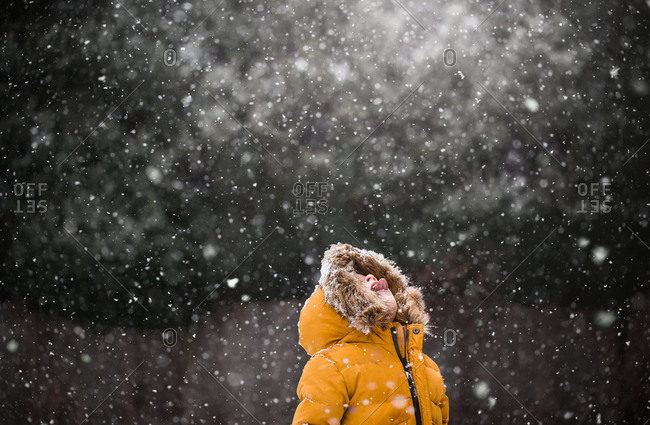 Boy wearing yellow jacket catching snowflakes on his tongue