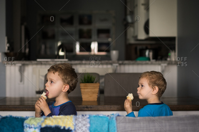 Two boys eating ice cream at dining room table