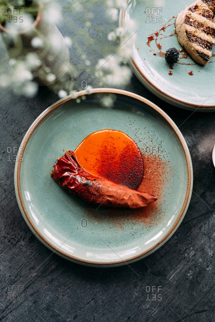 Stuffed paprika on a plate