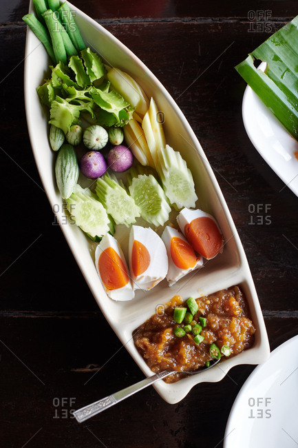 A tamarind style of nam prik dip with chilies and mashed veggies