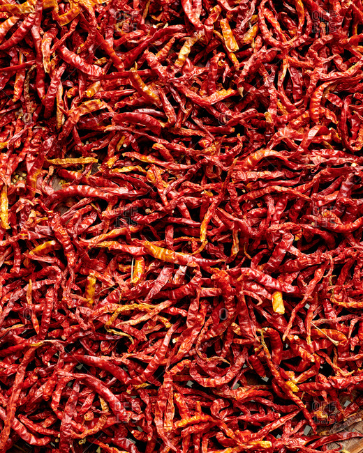 Close up of Thai chilies drying in the open air