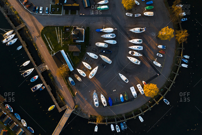 Aerial view of boats parked and moored in a marina