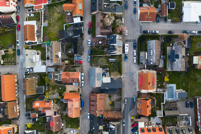 Aerial view over buildings and homes in a residential area
