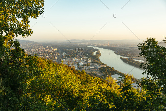 Austria- View to Klosterneuburg from Kahlenberg in the evening light
