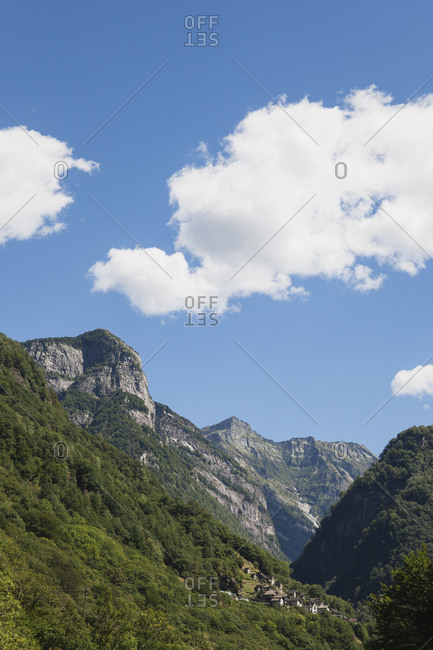 Switzerland- Ticino- Verzasca Valley- typical village and mountain scenery