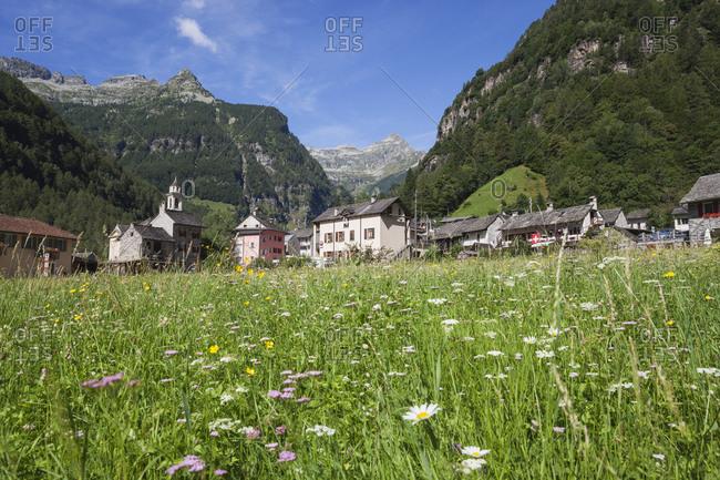 Switzerland- Ticino- Sonogno village- alpine meadow