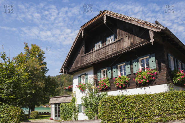 Austria- Alps- Salzburg- Salzkammergut- Salzburger Land- Wolfgangsee- Strobl- typical  house