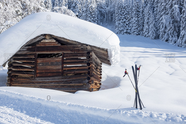 Austria- Salzburg State- Pongau- Wagrein- wooden hut and skis in winter