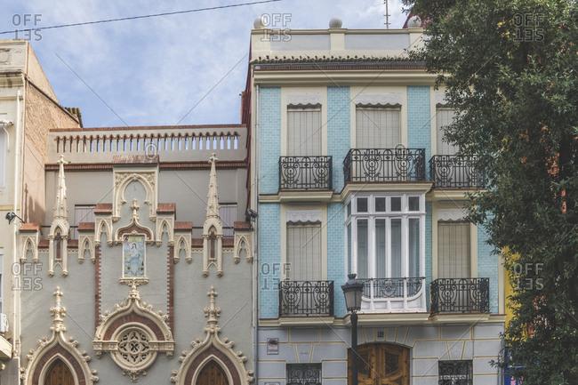 October 31, 2018: Spain- Valencia- El Cabanyal- facades of houses