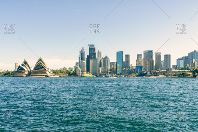 October 30, 2018: Australia- New South Wales- Sydney- skyline of Sydney with the port- financial district and the Opera house