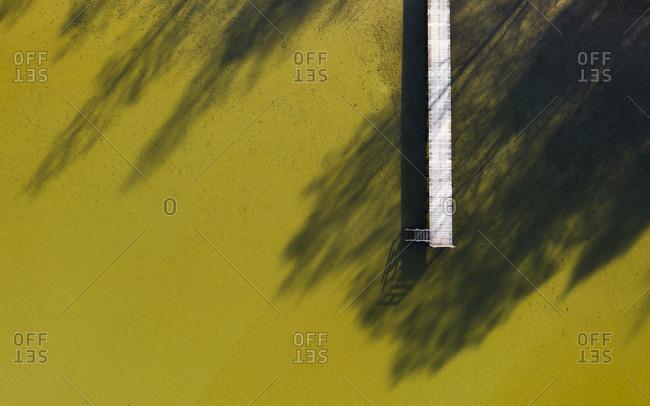 Aerial view of pier at Lake Starnberg