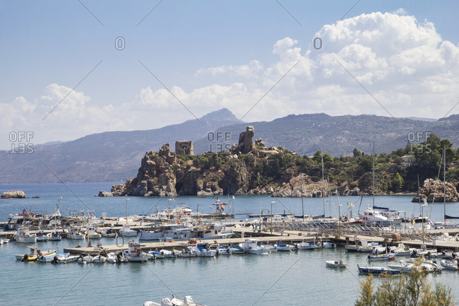 September 12, 2017: Sicily- Cefalu- Harbor and castle ruin