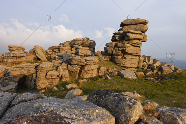 United Kingdom- England- Devon- Granite rock formations of Great Staple Tor in Dartmoor National Park in the evening light