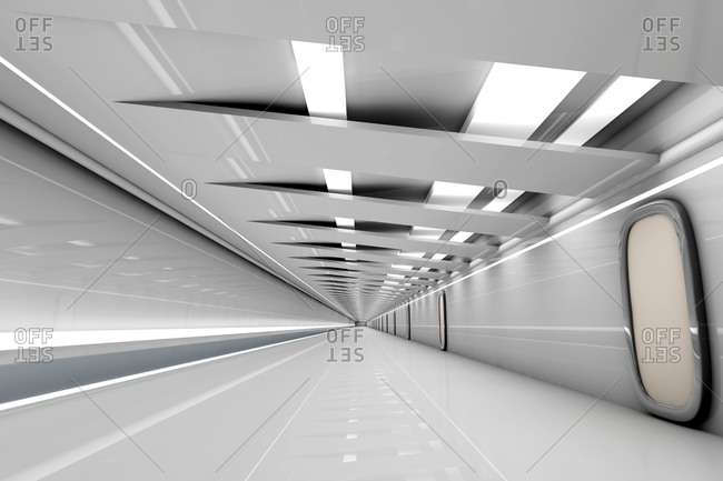 Futuristic grey hallway- 3D Rendering