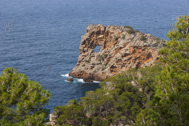 Spain- Balearic Islands- Mallorca- Deia- Peninsula Sa Foradada- natural arch