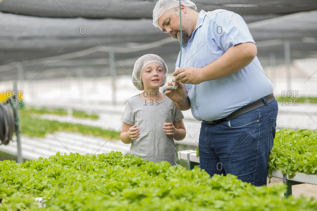 Greenhouse worker and daughter looking at plants