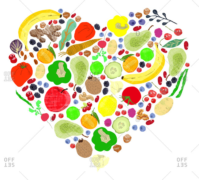 Different slices of fruit and vegetables arranged in a heart shape on a white background