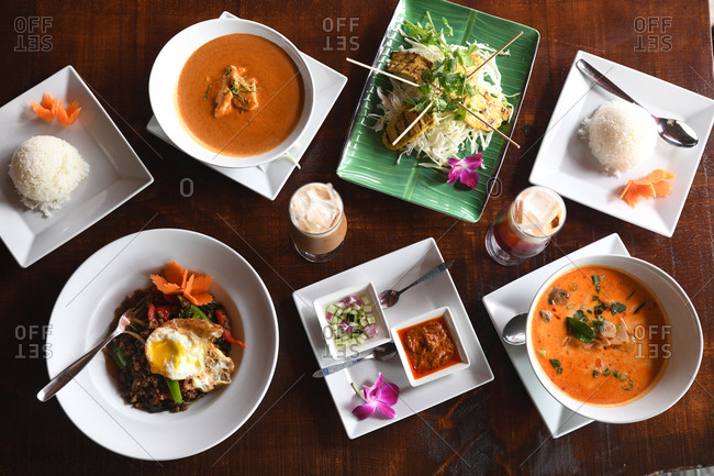 Overhead view of a variety of Asian dishes