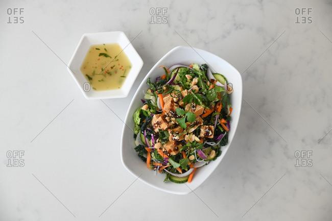 Overhead view of a tofu salad