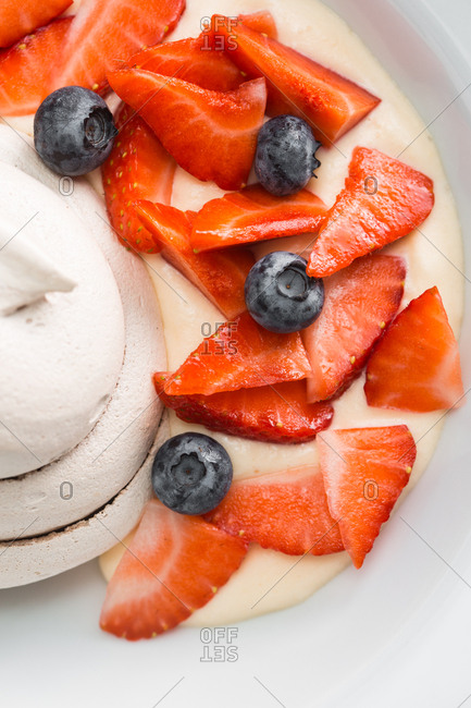 Close up of ice cream and berries