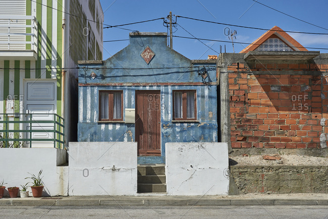 Ilhavo, Portugal - April 19, 2017: Old houses in a town in Portugal