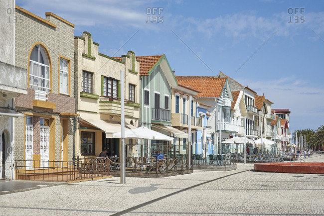 Ilhavo, Portugal - April 19, 2017: Street scene in a small town in Portugal