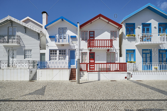 Row houses in a town in Portugal