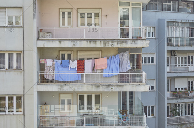 Laundry on a balcony of an apartment building in the Alvalade district in Lisbon, Portugal