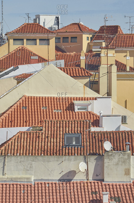 Buildings with red rooftops in the Alfama district of Lisbon, Portugal