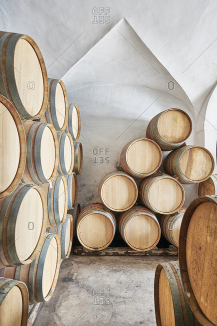 A wine cellar with aging wine barrels in Portugal
