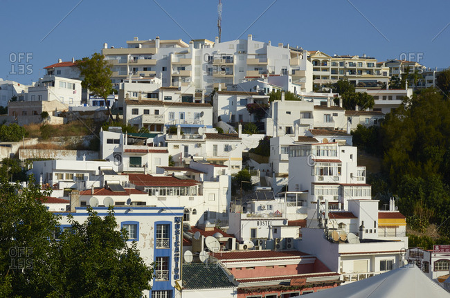 Albufeira, Portugal - September 27, 2018: Buildings in the town of Albufeira, Portugal
