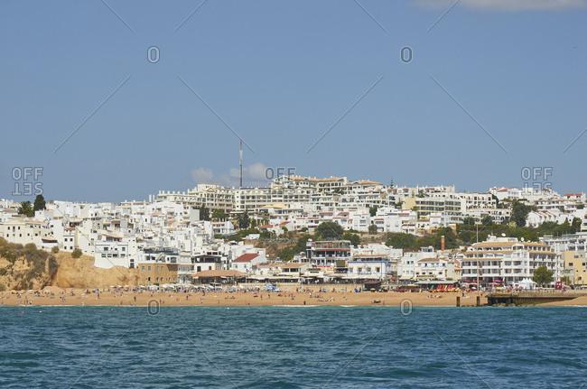Albufeira, Portugal - September 28, 2018: Beach on the coast of Albufeira, Portugal
