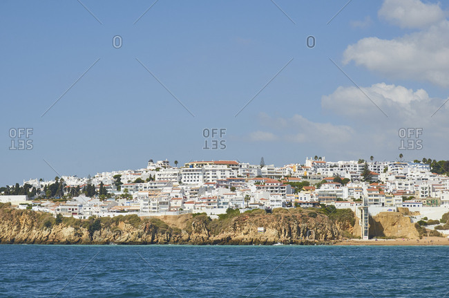 Albufeira, Portugal - September 28, 2018: View of coastal city of Albufeira, Portugal