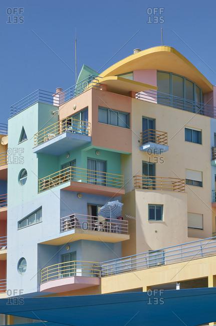 Colorful art-deco apartments in Albufeira, Portugal