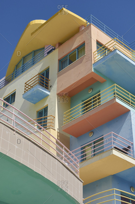 Low angle view of art-deco apartments in Albufeira, Portugal