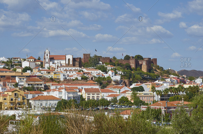 Silves, Portugal - September 28, 2018: View of the town of the Silves Castle and surrounding town