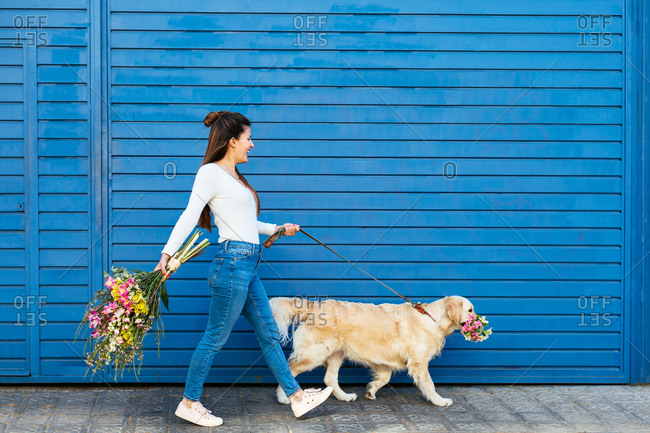 Side view of a woman holding a bouquet of flowers walking with her dog on the street.
