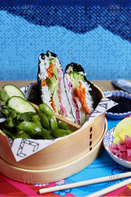 Vegetarian hand roll in a bento box