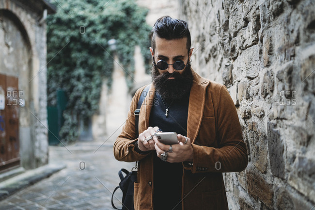 Hipster fashion style businessman.