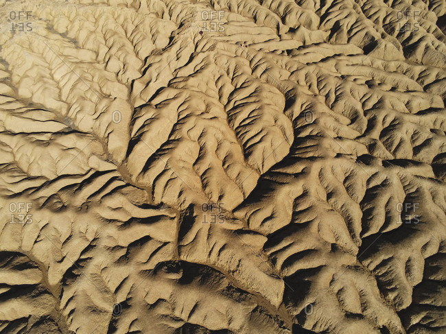 Aerial view of a desert eroded mountains
