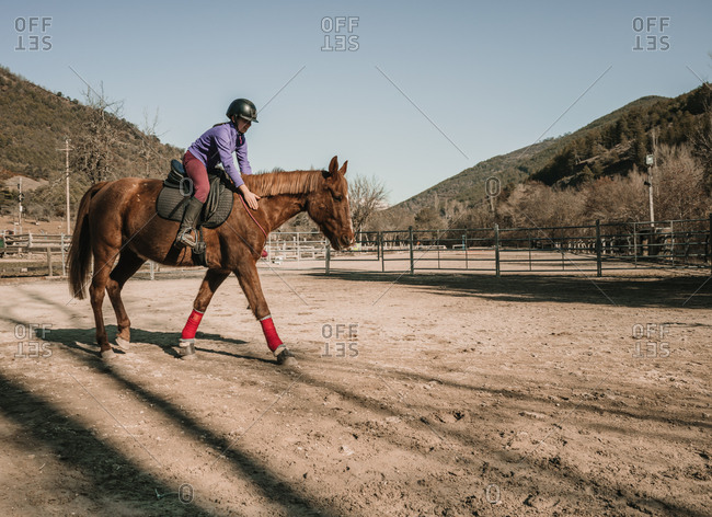 Young female in helmet riding wonderful horse in enclosure against cloudless blue sky during lesson on ranch