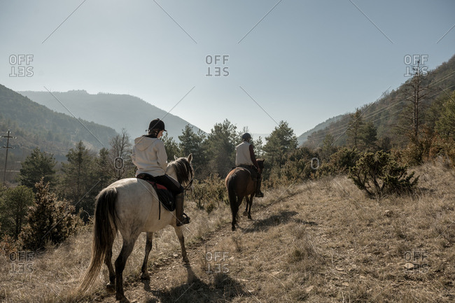 Back view of people riding horses in calm creek on sunny day in amazing autumn countryside during lesson