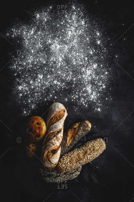 Natural Assortments of homemade breads. Flat lay. From above
