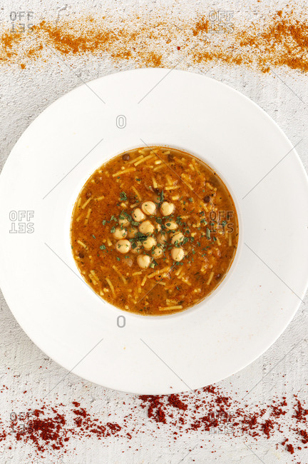 Traditional Harira soup for Ramadan. Halal. Eid. Muslim Homemade. From Arabia. Flat lay. From above