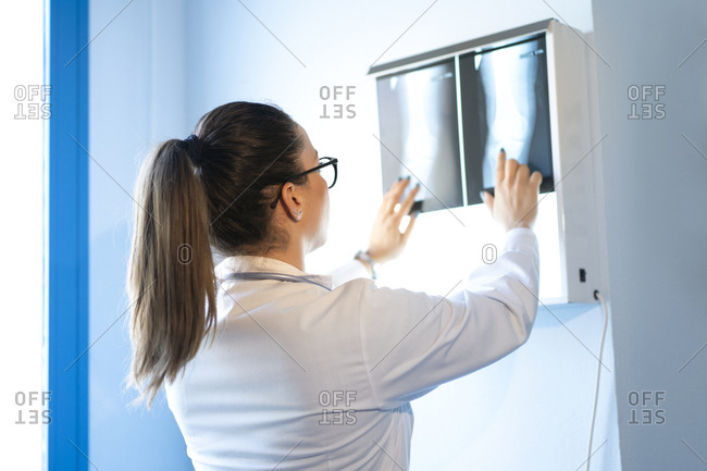Back view of young female doctor in uniform looking at x-ray image on wall in room