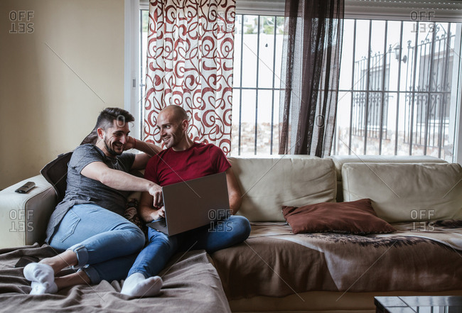 Gay couple watching the computer on the couch