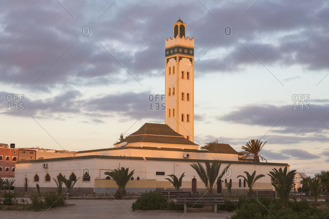 Eddarham Mosque at sunset in Dakhla, Morocco